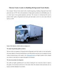 Therma Truck- Leader In Building Refrigerated Truck Bodies By Therma ...