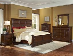 Bedroom Furniture Set In Rustic Style Made From Teak Wood With Brown Finish Added White Fur Rug On Walnut Hardwood Floor