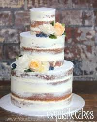 3 TIER RUSTIC CAKE WITH FRESH FLOWERS AND BLUEBERRIES