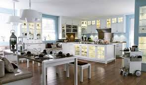 Blue Wall Paint And White Kitchen Cabinets