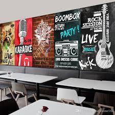 Custom Mural Retro Musical Instrument Dance Hall Concert Living Room Music Studio Background Microphone Wallpaper Excellent Wallpapers Hd Flower