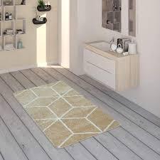 paco home badematte mit rauten muster kurzflor teppich für badezimmer in beige weiß grösse 40x55 cm