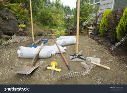Tools Excavating Laying Pavers Backyard Garden Stock Photo ... Garden Rakes Gardening Tools The Home Depot A Little Storage Shed Thats The Perfect Size For Your Gardening Backyards Stupendous Wooden Outdoor Tool Shed For Design With Types Tools Names And Cheap Spring Garden Cleanup Cnet Quick Backyard Cleanup With Ryobi Love Renovations Level Without Any Youtube How To Care Choose Hgtv Trendy And Ideas Online Modern Charming Old Props 113 Icon Flat Graphic Farm Organic
