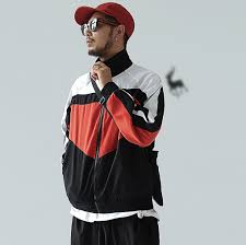 Guy Wearing A Mens Red New Vintage Zip Up Jackets Embroidery From Wooddeers Streetwear Online Store