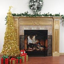 Prelit Christmas Tree Sets Itself Up by 6 U0027 Pre Lit Pop Up Gold Tinsel Artificial Christmas Tree Clear
