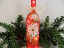 Decorative Wine Bottles With Lights by Lighted Red Wine Bottle White Poinsettia Hand Painted 750 U2026 Flickr