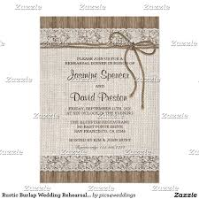 Rustic Burlap Wedding Rehearsal Dinner Invitations