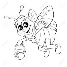 Historieta De La Abeja Volando Con Miel Cubo Ilustración En Blanco