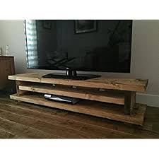 Solid Rustic Handmade Pine TV Unit Finished In A Chunky Country Oak Medium