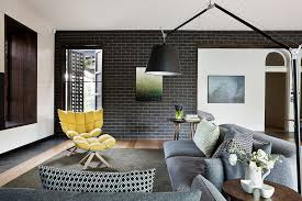 Terrific Darkgrey Brick Wall Living Room Chaise Lounge Small Interior Decorating Ideas Dark Flase Yellow Chair