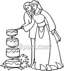 Bride Cutting the Wedding Cake Royalty Free Clipart Picture