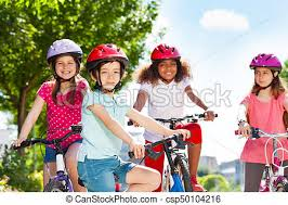 Happy Boy Riding Bicycle With Friends In Summer