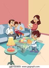 stock illustration karikatur familie an dass