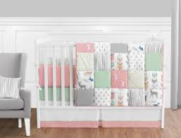 coral pink gray mint deer woodland baby bedding 9p crib set