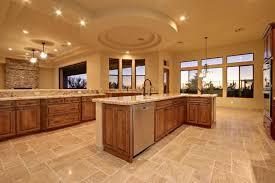 scabos travertine floor tile craftsman kitchen with pendant light chandelier in scottsdale