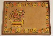 Vintage Mid Century MCM Burlap Colorful Bulletin Board Kitchen Kitsch Floral