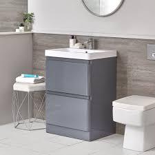 daxon grauer moderner 600mm waschtisch mit unterschrank und stand wc ohne spülkasten im set