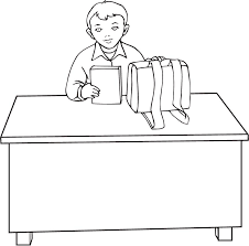 Coloring Pages Of A Boy Sitting On Desk For Studying 300x296