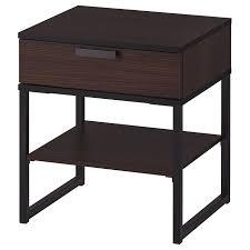 Bedside Table TRYSIL Dark Brown, Black