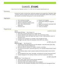 Sample Resume For Hotel And Restaurant Management Graduate Fast Food Server