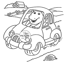 Barney In Car Coloring Pages For Kids Printable Free