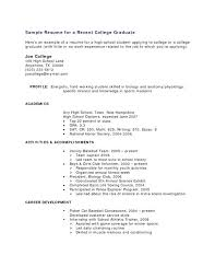 Sample Resume For Recent College Graduate No Experience Examples