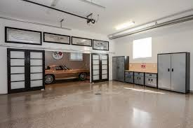 Free Standing Storage Cabinets For Garage by Hidden Garage Contemporary With Frosted Barn Doors Modern Tool