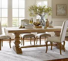 benchwright fixed pedestal dining table pottery barn in dining