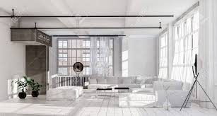 spacious living room in white minimalist interior design with