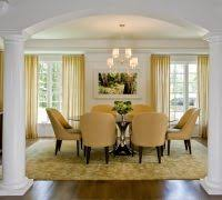 Modern Dining Room Curtain Ideas Contemporary With Chandelier Shades Pedestal Table Orange Chairs
