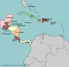 Map Of Central America And The Caribbean With Countries Labeled