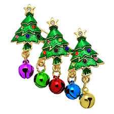 PammyJ Bright Green Christmas Tree With Colorful Ornaments Brooch Pin