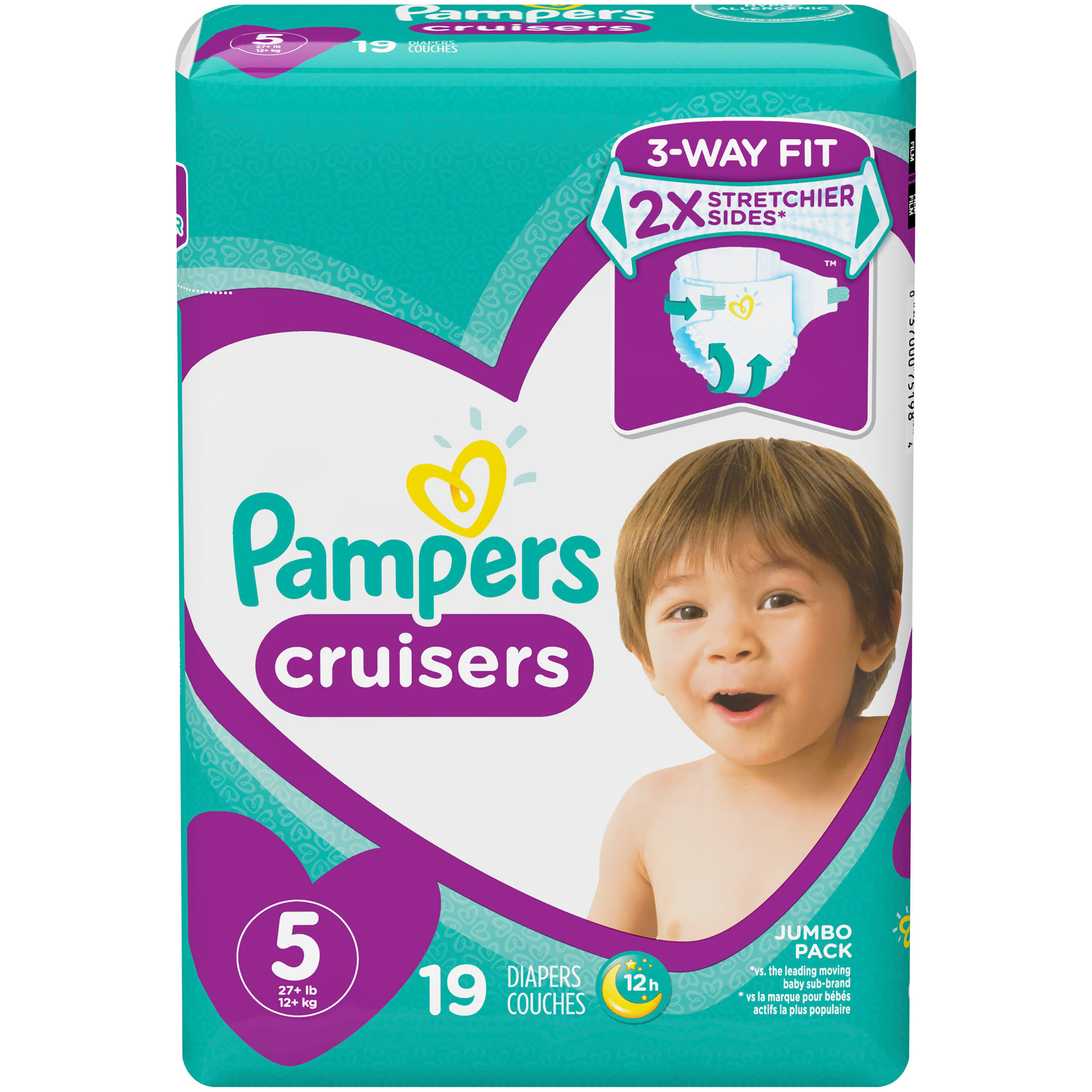 Pampers Cruisers Disposable Baby Diapers - Jumbo Pack, 19ct