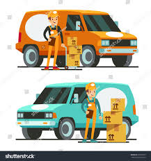 100 Truck Courier Delivery Happy Smiling Man Stock Vector Royalty Free