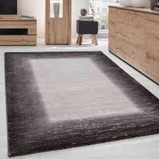 teppich modern designer wohnzimmer bordüre muster meliert braun beige creme größe 80x150 cm
