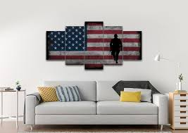 Walking Soldier With Rustic American Flag Wall Art 5 Panel Living Room Canvas
