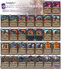 Hearthstone Hunter Beast Deck 2015 by Otk Warrior Adds Grim Patron And Trades Worgen For Arcane Giant
