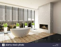 luxury bathroom with insert in a feature white brick wall and