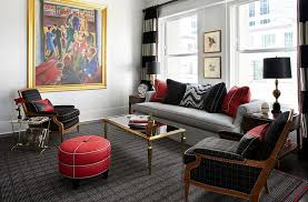 red black and white interiors living rooms kitchens bedrooms