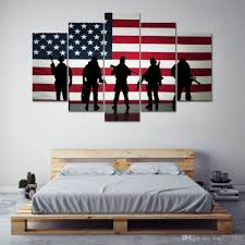 2018 Hd Printed American Flag Oil Painting Canvas 5 Panel No