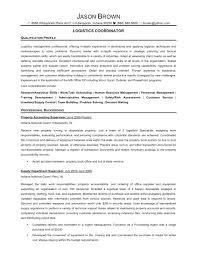 Project Coordinator Resume Sample Logistics Examples Amusing Samples On Senior Logistic Management Of Resumes Job Description