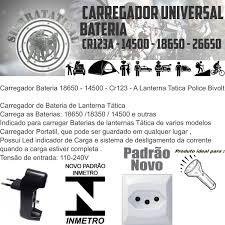 Carregador Universal Bateria Recarregável Cr123a 14500