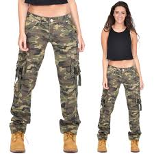 ladies womens army military green camouflage cargo pants jeans