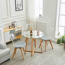 ipotius esstisch rund glastisch esszimmertisch couchtisch skandinavisch mit massivholzbeinen 80x75cm tisch für 2 4 personen