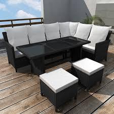 8 Person Outdoor Table by Vidaxl Poly Rattan 8 Person Lounge Set Black Vidaxl Com