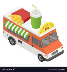 100 Icon Trucks Fast Food Truck Icon Isometric Style Royalty Free Vector