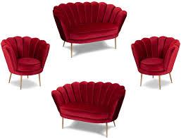 casa padrino designer deco wohnzimmer set rot messingfarben 2 sofas 2 sessel wohnzimmer möbel deco möbel