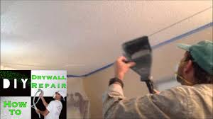 Patching Popcorn Ceiling Paint by How To Spray Popcorn Ceiling Texture On A Drywall Ceiling Repair