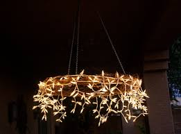 Instructions For A Stunning DIY Chandelier Perfect Rustic Weddings Icicle Lights With Grape Vine Wreath Would Be Beautiful In Back Yard The