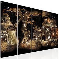 decomonkey bilder weltkarte 200x80 cm 5 teilig
